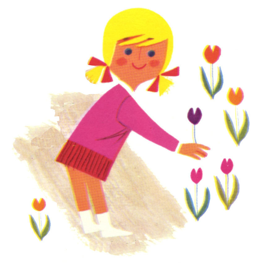 Girl take flower